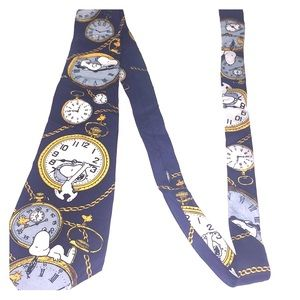 """Peanuts Snoopy """"Right on Time"""" Men's Tie"""